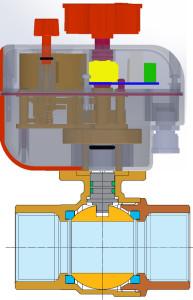 2 way Electric actuated brass ball valve Enolgas USA